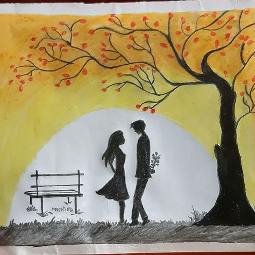 jab we meet, 14 x 11 inch, nayan pal,14x11inch,drawing paper,love paintings,paintings for bedroom,paintings for bedroom,pastel color,GAL02339935136