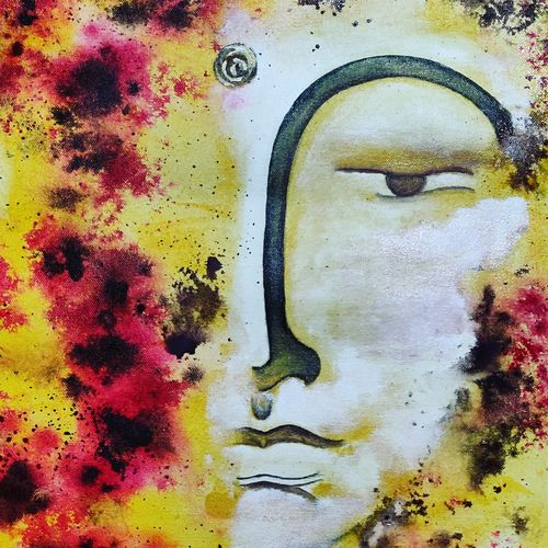 hidden budhha, 12 x 16 inch, puspita datta,12x16inch,canvas,paintings,abstract paintings,buddha paintings,modern art paintings,contemporary paintings,paintings for dining room,paintings for living room,paintings for bedroom,paintings for office,paintings for hotel,acrylic color,GAL01538635146