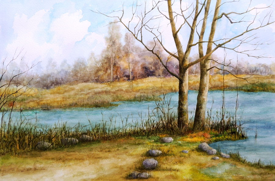 bend in the river, 22 x 15 inch, bhanupratap khare,landscape paintings,paintings for living room,handmade paper,watercolor,22x15inch,GAL012963515