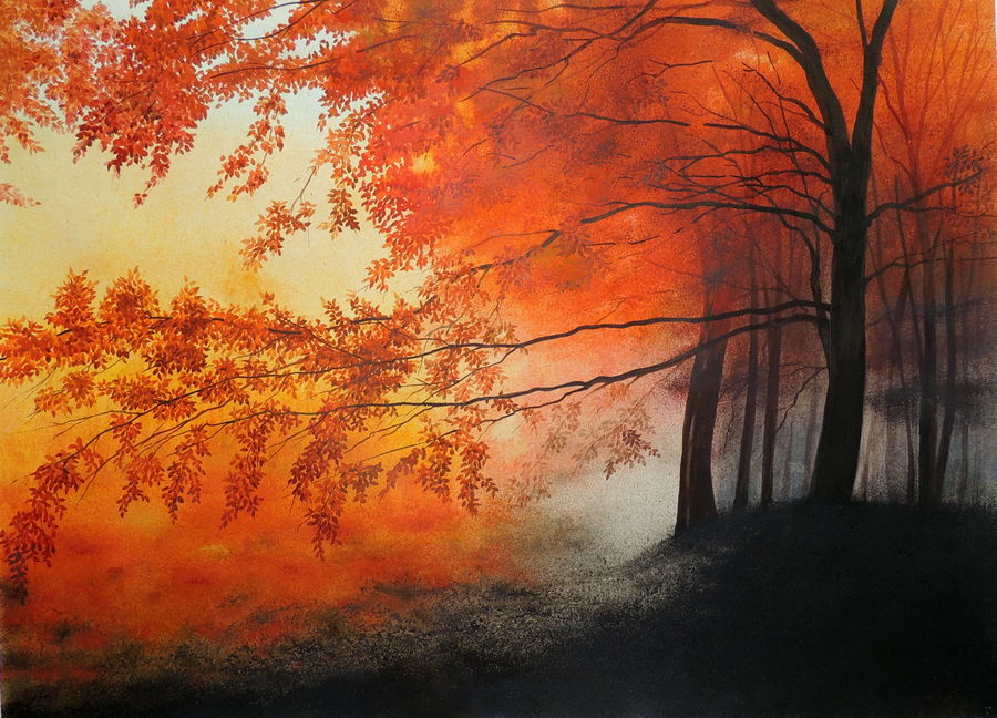 mad red, 30 x 22 inch, bhanupratap khare,landscape paintings,paintings for living room,nature paintings,handmade paper,watercolor,30x22inch,GAL012963516Nature,environment,Beauty,scenery,greenery,trees,red,beautiful