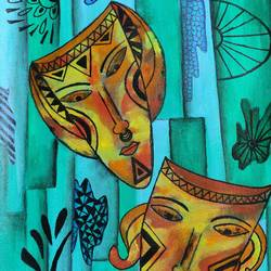 masked faces, 16 x 12 inch, puspita datta,16x12inch,canvas,paintings,figurative paintings,folk art paintings,modern art paintings,conceptual paintings,paintings for dining room,paintings for living room,paintings for bedroom,paintings for office,acrylic color,GAL01538635160