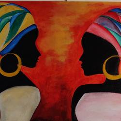 girl friends, 30 x 20 inch, puspita datta,30x20inch,canvas,figurative paintings,folk art paintings,modern art paintings,contemporary paintings,paintings for dining room,paintings for living room,paintings for bedroom,paintings for office,paintings for hotel,paintings for dining room,paintings for living room,paintings for bedroom,paintings for office,paintings for hotel,acrylic color,GAL01538635162