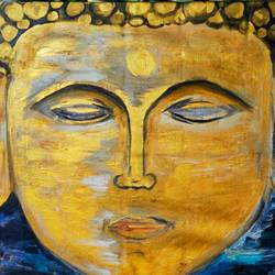 buddha meditating, 33 x 26 inch, pradeep kalipurayath,33x26inch,canvas,paintings,buddha paintings,paintings for dining room,paintings for living room,paintings for office,paintings for hotel,paintings for school,paintings for hospital,acrylic color,oil color,GAL02267635168