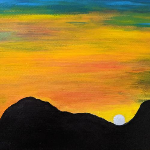 beauty of sun sets, 16 x 12 inch, promila singh,16x12inch,thick paper,paintings,nature paintings | scenery paintings,paintings for living room,acrylic color,GAL0823235177