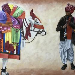 boom boom cow - gangireddu , 42 x 30 inch, kangana vohra,42x30inch,canvas,paintings,figurative paintings,folk art paintings,conceptual paintings,religious paintings,portrait paintings,photorealism paintings,photorealism,portraiture,realism paintings,animal paintings,realistic paintings,love paintings,paintings for dining room,paintings for living room,paintings for bedroom,paintings for office,paintings for hotel,paintings for school,paintings for hospital,paintings for dining room,paintings for living room,paintings for bedroom,paintings for office,paintings for hotel,paintings for school,paintings for hospital,acrylic color,pen color,GAL0725835181