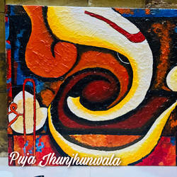 abstract ganesha, 24 x 30 inch, puja jhunjhunwala,24x30inch,canvas,abstract paintings,modern art paintings,religious paintings,acrylic color,GAL02307735183