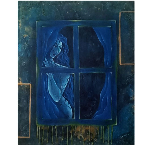 intezar (still waiting), 30 x 36 inch, aditi jha,30x36inch,canvas,paintings,abstract paintings,modern art paintings,contemporary paintings,paintings for dining room,paintings for living room,paintings for bedroom,paintings for office,paintings for hotel,acrylic color,pen color,pencil color,GAL02054535195