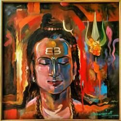 lord shiva, 18 x 18 inch, chandranath banerjee,figurative paintings,paintings for office,religious paintings,lord shiva paintings,canvas,acrylic color,18x18inch,GAL012023520