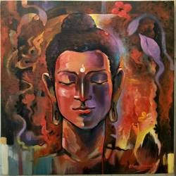 lord buddha, 18 x 18 inch, chandranath banerjee,buddha paintings,paintings for living room,religious paintings,paintings for office,canvas,acrylic color,18x18inch,religious,peace,meditation,meditating,gautam,goutam,buddha,brown,GAL012023521