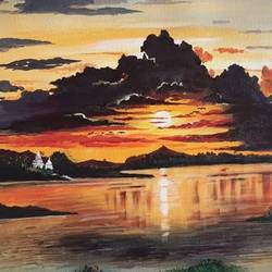 sunset, 25 x 20 inch, narayan tanawade,25x20inch,canvas,paintings,landscape paintings,portrait paintings,nature paintings | scenery paintings,acrylic color,GAL01012535213