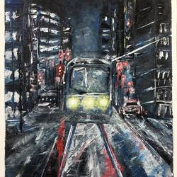 city metro, 10 x 12 inch, akansha singh,10x12inch,canvas,paintings,abstract paintings,modern art paintings,pop art paintings,street art,paintings for living room,paintings for office,paintings for kids room,paintings for hotel,paintings for school,paintings for hospital,acrylic color,GAL02164035216