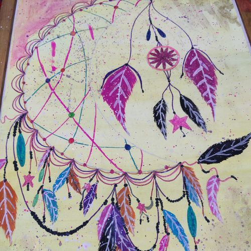 the crescent moon dreamcatcher, 11 x 18 inch, manya sharma,11x18inch,canson paper,paintings,abstract paintings,modern art paintings,conceptual paintings,expressionism paintings,pop art paintings,pen color,poster color,watercolor,paper,GAL02310735222