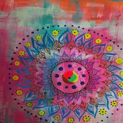 colourful mandala art, 18 x 24 inch, akansha singh,18x24inch,thick paper,folk art paintings,acrylic color,pen color,paper,GAL02369335223