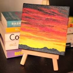 sunset , 4 x 4 inch, jyoti gupta,4x4inch,canvas,nature paintings | scenery paintings,acrylic color,GAL02358735225