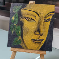 buddha's blessing, 4 x 4 inch, jyoti gupta,4x4inch,canvas,buddha paintings,paintings for living room,paintings for office,paintings for kids room,paintings for living room,paintings for office,paintings for kids room,acrylic color,GAL02358735226