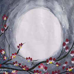 moon light, 18 x 24 inch, akansha singh,18x24inch,thick paper,paintings,nature paintings | scenery paintings,paintings for bedroom,paintings for bedroom,acrylic color,paper,GAL02369335227