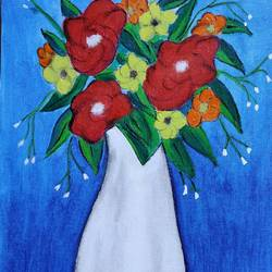 flower vase, 10 x 12 inch, puspita datta,10x12inch,canvas,paintings,abstract paintings,flower paintings,modern art paintings,paintings for dining room,paintings for living room,paintings for bedroom,paintings for office,paintings for kids room,paintings for hotel,paintings for kitchen,paintings for school,paintings for hospital,acrylic color,GAL01538635228