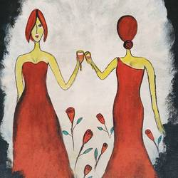 celebration womenhood, 12 x 16 inch, puspita datta,12x16inch,canvas,paintings,abstract paintings,figurative paintings,modern art paintings,conceptual paintings,pop art paintings,paintings for dining room,paintings for living room,paintings for bedroom,paintings for office,paintings for bathroom,paintings for hotel,acrylic color,GAL01538635231