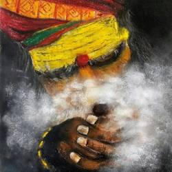 sadhu smoking , 17 x 12 inch, swasti verma,17x12inch,thick paper,paintings,religious paintings,portrait paintings,paintings for living room,paintings for office,paintings for hotel,pastel color,GAL02345535235