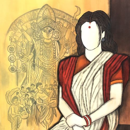 maheshwari , 28 x 33 inch, mrinal  dutt,28x33inch,canvas,paintings,figurative paintings,religious paintings,contemporary paintings,paintings for dining room,paintings for living room,paintings for bedroom,paintings for office,paintings for kids room,paintings for hotel,paintings for kitchen,paintings for school,paintings for hospital,acrylic color,GAL01311735236