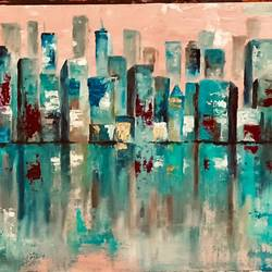 cityscape , 18 x 24 inch, asmita chandra,18x24inch,canvas board,paintings,abstract paintings,cityscape paintings,modern art paintings,cubism paintings,contemporary paintings,paintings for dining room,paintings for living room,paintings for bedroom,paintings for office,paintings for hotel,oil color,GAL02372235241