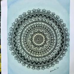 mandala doodle art, 8 x 11 inch, asmita chandra,8x11inch,drawing paper,paintings,art deco paintings,love paintings,paintings for dining room,paintings for living room,paintings for bedroom,paintings for office,paintings for hotel,ink color,mixed media,watercolor,GAL02372235253