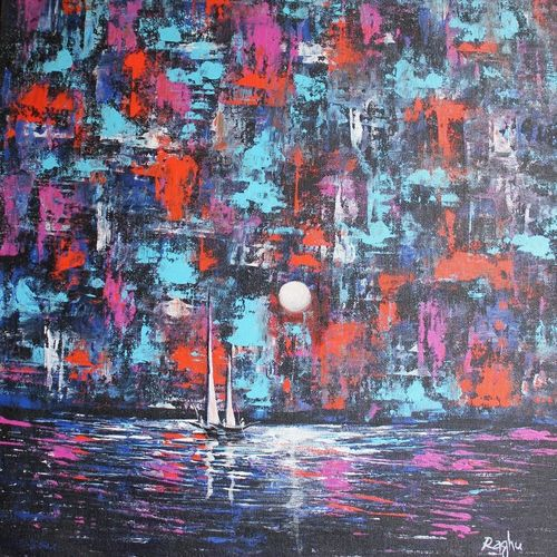 land scape 3, 24 x 20 inch, raghu godisela,24x20inch,canvas,paintings,abstract paintings,paintings for living room,acrylic color,GAL02377735262