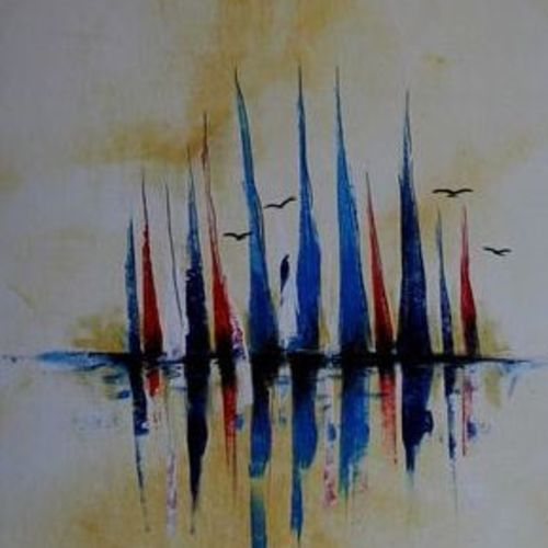 boats 2, 14 x 34 inch, raghu godisela,14x34inch,canvas,paintings,landscape paintings,paintings for living room,acrylic color,GAL02377735265