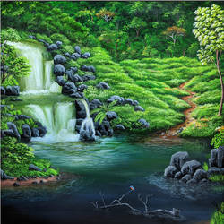 forest waterfall, 24 x 24 inch, shobin george,24x24inch,canvas,paintings,landscape paintings,nature paintings | scenery paintings,paintings for dining room,paintings for living room,paintings for bedroom,paintings for office,paintings for bathroom,paintings for kids room,paintings for hotel,paintings for kitchen,paintings for school,paintings for hospital,acrylic color,fabric,GAL02366335268