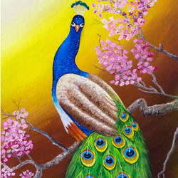 peacock on tree, 12 x 24 inch, shobin george,12x24inch,canvas,paintings,wildlife paintings,nature paintings | scenery paintings,animal paintings,paintings for dining room,paintings for living room,paintings for bedroom,paintings for office,paintings for bathroom,paintings for kids room,paintings for hotel,paintings for kitchen,paintings for school,paintings for hospital,acrylic color,fabric,GAL02366335270