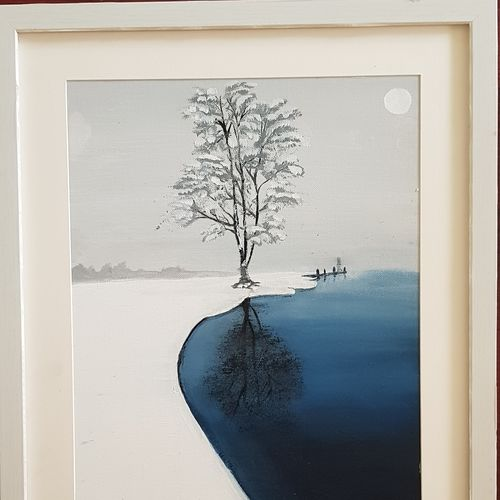 lone tree in snow scape, 12 x 16 inch, aslam shareef,12x16inch,canvas,landscape paintings,paintings for dining room,paintings for living room,paintings for bedroom,paintings for kids room,paintings for hotel,paintings for school,paintings for hospital,paintings for dining room,paintings for living room,paintings for bedroom,paintings for kids room,paintings for hotel,paintings for school,paintings for hospital,acrylic color,GAL02378835276