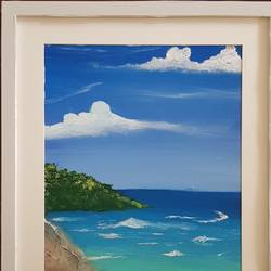 empty tropical beach, 12 x 16 inch, aslam shareef,12x16inch,canvas,paintings,landscape paintings,nature paintings | scenery paintings,paintings for dining room,paintings for living room,paintings for bedroom,paintings for office,paintings for hotel,paintings for school,paintings for hospital,acrylic color,GAL02378835278