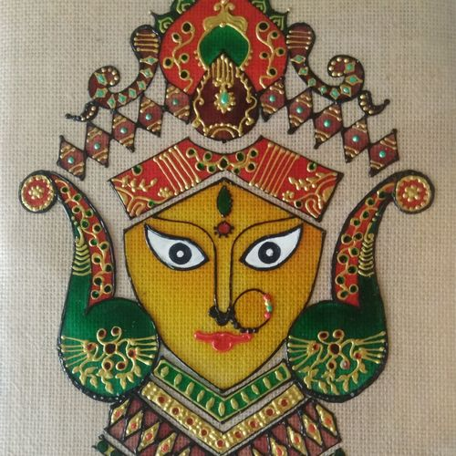 glass painting of goddess durga , 8 x 11 inch, shreya  chamare ,8x11inch,ohp plastic sheets,paintings,religious paintings,glass,GAL02378335284