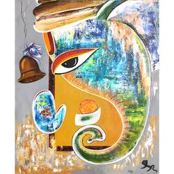 ganesha , 20 x 26 inch, tripti yadav,20x26inch,canvas,paintings,religious paintings,ganesha paintings | lord ganesh paintings,paintings for dining room,paintings for living room,paintings for bedroom,paintings for office,paintings for hotel,paintings for hospital,acrylic color,GAL02351535299