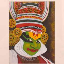 kathakali painting, 10 x 14 inch, salil verenkar,10x14inch,cartridge paper,paintings,figurative paintings,religious paintings,acrylic color,GAL02372935309