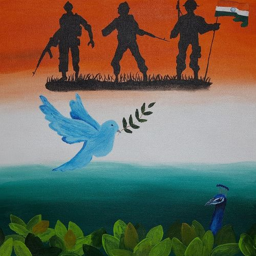 tricolor, 16 x 12 inch, pooja katharotia,16x12inch,canvas,paintings,landscape paintings,paintings for dining room,paintings for living room,paintings for office,paintings for school,paintings for hospital,paintings for dining room,paintings for living room,paintings for office,paintings for school,paintings for hospital,acrylic color,GAL02340535314