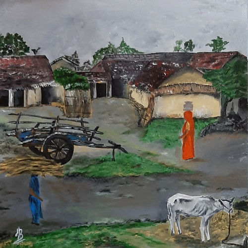 village 03, 18 x 18 inch, tejal bhagat,18x18inch,canvas,paintings,abstract paintings,figurative paintings,flower paintings,landscape paintings,religious paintings,nature paintings | scenery paintings,abstract expressionism paintings,expressionism paintings,illustration paintings,impressionist paintings,photorealism,realism paintings,street art,surrealism paintings,animal paintings,realistic paintings,love paintings,paintings for dining room,paintings for living room,paintings for bedroom,paintings for office,paintings for hotel,paintings for kitchen,paintings for school,paintings for hospital,acrylic color,GAL02041535316