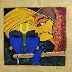 radhakrishna, 15 x 15 inch, haritha gopisetty,15x15inch,canvas,paintings,portrait paintings,paintings for dining room,paintings for living room,paintings for bedroom,paintings for office,paintings for kids room,paintings for hotel,paintings for kitchen,paintings for hospital,acrylic color,GAL02133435317