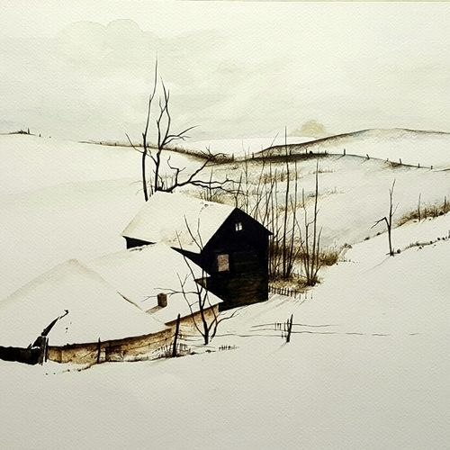 frosted, 22 x 15 inch, bhanupratap khare,landscape paintings,handmade paper,watercolor,22x15inch,GAL012963532