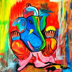 ganesha, 8 x 10 inch, manish  singh,8x10inch,canvas board,paintings,ganesha paintings | lord ganesh paintings,paintings for dining room,paintings for living room,paintings for office,paintings for hotel,paintings for school,oil color,pastel color,poster color,watercolor,GAL02383535324