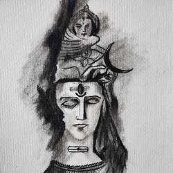 shiva charcoal, 8 x 11 inch, manish  singh,8x11inch,thick paper,drawings,figurative drawings,paintings for living room,paintings for office,paintings for hotel,paintings for school,charcoal,paper,GAL02383535325