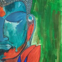 buddha , 8 x 11 inch, manish  singh,8x11inch,thick paper,paintings,buddha paintings,paintings for dining room,paintings for living room,paintings for bedroom,paintings for office,pastel color,poster color,GAL02383535326