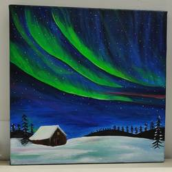 aurora borealis , 12 x 12 inch, jyoti gupta,12x12inch,canvas,paintings,nature paintings | scenery paintings,acrylic color,GAL02358735333