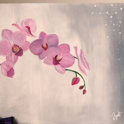orchid's love, 12 x 16 inch, jyoti gupta,12x16inch,canvas,flower paintings,nature paintings | scenery paintings,paintings for dining room,paintings for living room,paintings for bedroom,paintings for dining room,paintings for living room,paintings for bedroom,acrylic color,GAL02358735334