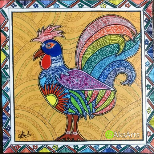 rooster - messengers of a new dawn, 16 x 16 inch, akanksha sinha,16x16inch,canvas,paintings,folk art paintings,animal paintings,madhubani paintings | madhubani art,paintings for dining room,paintings for living room,paintings for bedroom,paintings for office,paintings for bathroom,paintings for kids room,paintings for hotel,paintings for kitchen,paintings for school,paintings for hospital,acrylic color,pen color,GAL01104135335