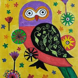 the owl, 10 x 12 inch, puspita datta,10x12inch,canvas,paintings,figurative paintings,folk art paintings,modern art paintings,pop art paintings,animal paintings,paintings for dining room,paintings for living room,paintings for bedroom,paintings for office,paintings for kids room,paintings for hotel,paintings for kitchen,paintings for school,acrylic color,GAL01538635337