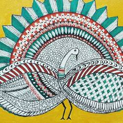 peacock, 8 x 4 inch, puspita datta,8x4inch,canvas,paintings,folk art paintings,animal paintings,madhubani paintings | madhubani art,paintings for dining room,paintings for living room,paintings for bedroom,paintings for office,acrylic color,ink color,pen color,GAL01538635339