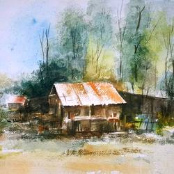 red roof, 15 x 11 inch, bhanupratap khare,landscape paintings,paintings for living room,handmade paper,watercolor,15x11inch,GAL012963535