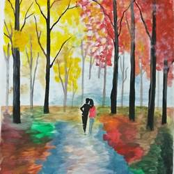 paintings, 14 x 18 inch, yamini lobiyal,14x18inch,ivory sheet,paintings,love paintings,paintings for bedroom,paintings for hotel,watercolor,GAL0834035350