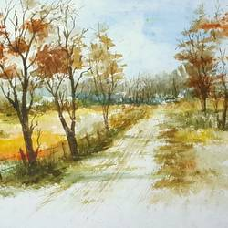 country road, 15 x 11 inch, bhanupratap khare,landscape paintings,paintings for living room,handmade paper,watercolor,15x11inch,GAL012963536